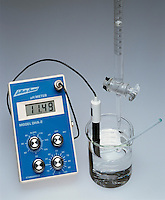 TITRATION OF AN ACID WITH A BASE W/pH METER<br /> (5 of 5 - Variations Available)<br /> NaOH in Buret Added To HCl in Beaker<br /> .10M sodium hydroxide is added to .10M hydrochloric acid. The pH increases to 11.49.  The H3O+ concentration is reduced by neutralization which brings it to its equivalence point, H3O+(aq) + OH-(aq) -&gt; 2H2O(l), and then beyond.