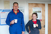 Plumbing students enjoy a hot drink during a break, Able Skills, Dartford, Kent.