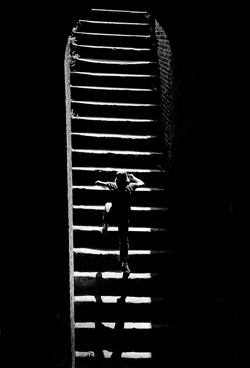 A child climbing stairs