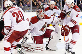 Ilya Bryzgalov (Phoenix Coyotes, #30) and a puck in front of him during ice-hockey match between Los Angeles Kings and Phoenix Coyotes in NHL league, March 3, 2011 at Staples Center, Los Angeles, USA. (Photo By Matic Klansek Velej / Sportida.com)