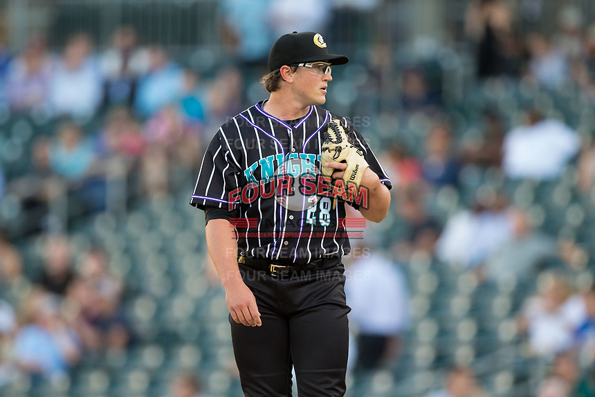 Charlotte Knights starting pitcher Carson Fulmer (28) looks to his catcher for the sign against the Norfolk Tides at BB&T BallPark on May 2, 2017 in Charlotte, North Carolina.  The Knights defeated the Tides 8-3.  (Brian Westerholt/Four Seam Images)