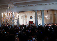 US President Barack Obama delivers remarks, while Lonnie Bunch, the director of the Smithsonian National Museum of African American History and Culture listens,  at the reception in honor of the opening of the museum in the Grand Foyer of the White House September 22, 2016, Washington, DC.<br /> Credit: Aude Guerrucci / Pool via CNP /MediaPunch