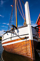 Norway, Inderøy. Kjerknesvågen harbour. The old sail ship Pauline.