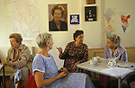 Conservative women Mrs Thatcher supporters meet Dulwich  South London. Thatcher and Churchill portraits on wall behind 1983