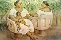 Painting entitled Mujeres en rl Parque by Francisco Zuniga,  Gran Museo del Mundo Maya museum in Merida, Yucatan, Mexico  .