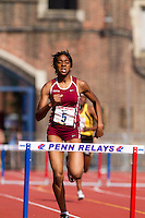 Leah Nugent of Abington High School, takes first place in the High School Girls' 400m Hurdles Championship in a time of  59.15 seconds on Thursday, April 22, 2010 at the Penn Relays in Philadelphia.