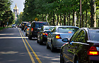 August 19, 2012; Motorist line up along Notre Dame Avenue on move in weekend. Photo by Barbara Johnston/University of Notre Dame