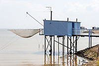 France, Meschers-sur-Gironde. Traditional fishing hut, or carrelet.