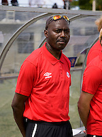 Canada head coach Patrick Tobo looks over the field during the group stage of the CONCACAF Men's Under 17 Championship at Jarrett Park in Montego Bay, Jamaica. Canada defeated Barbados, 8-0.