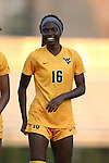 09 September 2016: West Virginia's Easther Mayi Kith (CAN). The Duke University Blue Devils hosted the West Virginia University Mountaineers at Koskinen Stadium in Durham, North Carolina in a 2016 NCAA Division I Women's Soccer match. West Virginia won the match 3-1.
