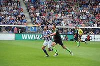 VOETBAL: HEERENVEEN: Abe Lenstra Stadion, 02-09-2012, Eredivisie 2012-2013, SC Heerenveen - Ajax, Eindstand 2-2, Daniel de Ridder (#6 | SCH), Derk Boerrigter (#21 | Ajax), ©foto Martin de Jong