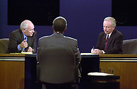 Democratic Vice Presidential Candidate United States Senator Joseph Lieberman (Democrat of Connecticut), right, and Republican Hopeful Dick Cheney, left, aim their comments at each other before moderator Bernard Shaw during the VP debate at Centre College in Danville, Kentucky against Richard B. Cheney Thursday October 5, 2000. <br /> Credit: John Simpson - Pool via CNP/MediaPunch