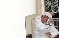 Un soffio di vento solleva la mantellina di Papa Francesco durante la sua udienza generale del mercoledi' in Piazza San Pietro, Citta' del Vaticano, 26 aprile, 2017.<br /> A gust of wind blows Pope Francis' mantle as he speaks during his weekly general audience in Saint Peter's squareat the Vatican, on April 26, 2017.<br /> UPDATE IMAGES PRESS/Isabella Bonotto<br /> <br /> STRICTLY ONLY FOR EDITORIAL USE