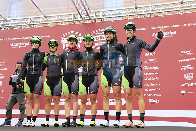 Cyclance Pro Cycling team at sign on before the start of the Ladies 2017 Strade Bianche running 127km from Siena to Siena, Tuscany, Italy 4th March 2017.<br /> Picture: Eoin Clarke | Newsfile<br /> <br /> <br /> All photos usage must carry mandatory copyright credit (&copy; Newsfile | Eoin Clarke)