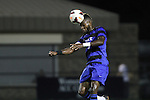 30 August 2013: Duke's Sebastien Ibeagha heads the ball. The Duke University Blue Devils hosted the Rutgers University Scarlet Knights at Koskinen Stadium in Durham, NC in a 2013 NCAA Division I Men's Soccer match. The game ended in a 1-1 tie after two overtimes.