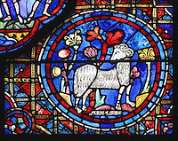 Aries as a white ram amid lush plants, who turns to look at the vineyard worker in the panel to the left (also thought to represent Jesus, the lamb of God), from the Zodiac and the labours of the months stained glass window, 1217, in the ambulatory of Chartres Cathedral, Eure-et-Loir, France. This calendar window contains scenes showing the zodiacal symbol with its corresponding monthly activity. Chartres cathedral was built 1194-1250 and is a fine example of Gothic architecture. Most of its windows date from 1205-40 although a few earlier 12th century examples are also intact. It was declared a UNESCO World Heritage Site in 1979. Picture by Manuel Cohen