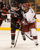 Ryan Shea (NU - 5), Alexander Kerfoot (Harvard - 14) - The Harvard University Crimson defeated the Northeastern University Huskies 4-3 in the opening game of the 2017 Beanpot on Monday, February 6, 2017, at TD Garden in Boston, Massachusetts.