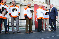 PHILADELPHIA, PA - OCTOBER 14 :  On the day of the Philadelphia Flyers first regular season game of their 50th anniversary,  at a public lunchtime pep rally in Dilworth Park. Philadelphia Mayor Jim Kenney officially kicked off the Flyers 50th anniversary season by dropping a golden puck on the team's golden anniversary, starting the lunch hour's festivities in Philadelphia, Pa on October 14, 2016  photo credit  Star Shooter/MediaPunch