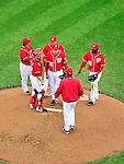 24 April 2010: Washington Nationals' pitcher Craig Stammen (35) takes part in a mound conference during a game against the Los Angeles Dodgers at Nationals Park in Washington, DC. The Dodgers edged out the Nationals 4-3 in a thirteen inning game. Mandatory Credit: Ed Wolfstein Photo