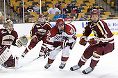 Parker Milner (BC - 35), Colin Blackwell (Harvard - 63), Michael Matheson (BC - 5) - The Boston College Eagles defeated the Harvard University Crimson 4-1 in the opening round of the 2013 Beanpot tournament on Monday, February 4, 2013, at TD Garden in Boston, Massachusetts.