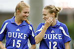 09 October 2005: Duke's Sarah McCabe (15) and Lauren Tippets (12). The Duke Blue Devils defeated the #1 ranked Carolina Tar Heels 2-1 at Fetzer Field in Chapel Hill, North Carolina in a regular season Atlantic Coast Conference women's soccer game.