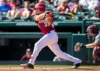 NWA Democrat-Gazette/JASON IVESTER<br /> Arkansas' Grant Koch connects on a pitch Sunday, March 19, 2017, against Mississippi State at Baum Stadium in Fayetteville.