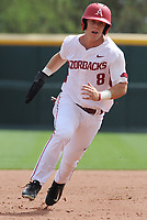 NWA Democrat-Gazette/ANDY SHUPE<br />Arkansas right fielder Eric Cole heads to third base against Georgia Saturday, April 15, 2017, during the third inning at Baum Stadium in Fayetteville. Visit nwadg.com/photos to see more photographs from the game.