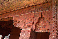 Fatehpur Sikri, Uttar Pradesh, India.  Decorative Carvings in Stone Pillars and Wall of the Diwan-i-Khas (Hall of Private Audience).