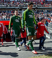 26 March 2011: Players from both teams enter the pitch during the opening ceremonies of an MLS game between the Portland Timbers and the Toronto FC at BMO Field in Toronto, Ontario Canada..Toronto FC won 2-0....