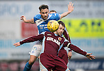 St Johnstone v Stenhousemuir&hellip;21.01.17  McDiarmid Park  Scottish Cup<br />Keith Watson gets above Vincent Berry<br />Picture by Graeme Hart.<br />Copyright Perthshire Picture Agency<br />Tel: 01738 623350  Mobile: 07990 594431