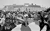 Fans head into Cleveland Municipal stadium for the final game of the 1995 season. Owner Art Modell moved the team to Baltimore in the off-season.