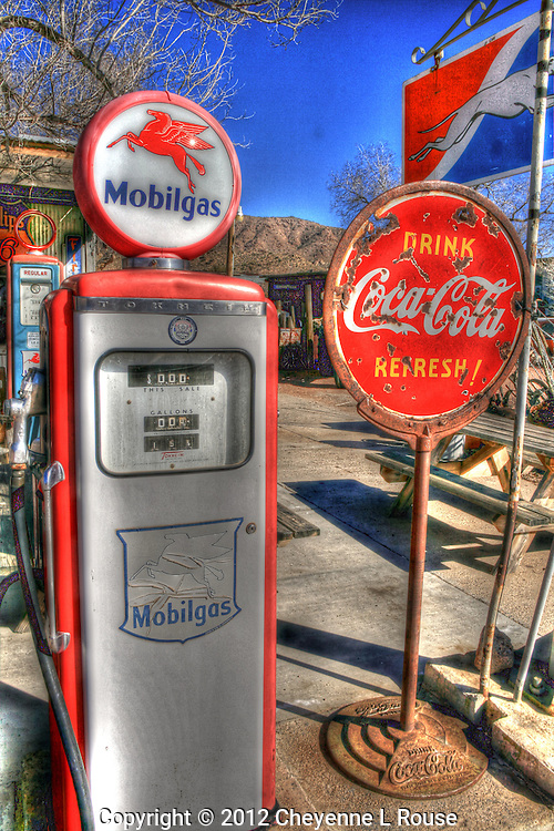 When gas was affordable and the pumps were a pleasure to drive up to. - Mobil Gas pimp, Coca-Cola and Greyhound buses...oh yes those were the days! Hackberry General Store - Route 66 - Arizona - All rights reserved