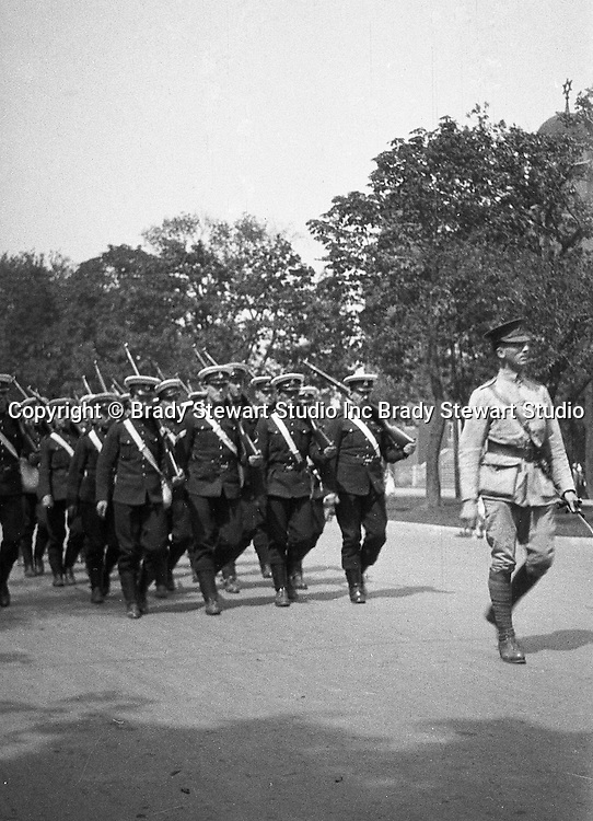 Toronto Ontario: Soldiers marching in one of parades celebrating the 100th anniversary of the Battle of Lundy's Lane - 1914