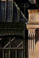 Plant History Glasshouse (formerly Australian Glasshouse), 1830s, Rohault de Fleury, Jardin des Plantes, Museum National d'Histoire Naturelle, Paris, France. Detail showing stone pillasters adjoining glass and iron structural elements.