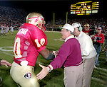 Bobby Bowden is congratulated as time runs out as his Florida State Seminoles defeated the Florida Gators 45-30 at Doak Campbell Stadium in Tallahassee, Florida December 1, 1990. (Mark Wallheiser/TallahasseeStock.com)