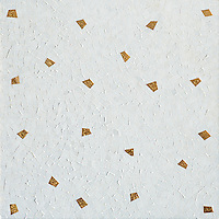 Cosmos, a natural stone and glass hand cut mosaic, shown in polished Afyon White with gold glass accents, is by Sara Baldwin for New Ravenna Mosaics.