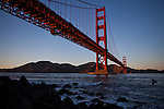 The Marin Headlands are just beyond the Golden Gate Bridge as seen from San Francisco, Calif., December 13, 2012.