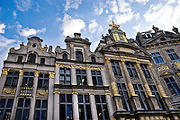 The ornately decorated guild houses line the sides of Grand Place in Brussels, Belgium, a UNESCO World Heritage Site.