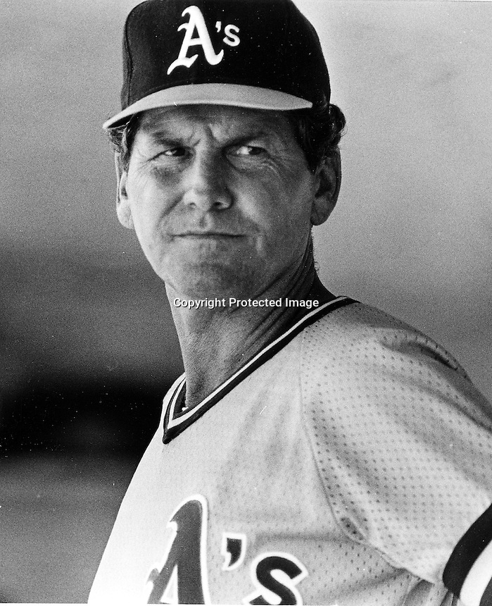A's manager Jackie Moore.(1985 photo by Ron Riesterer)
