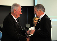 Outgoing presdient David Rhodes shakes hands with incumbent Maurice Trapp. The 2017 New Zealand Rugby Union Annual General Meeting at the New Zealand Rugby Union Head Office in Wellington, New Zealand on Thursday, 27 April 2017. Photo: Dave Lintott / lintottphoto.co.nz