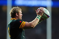 Adriaan Strauss of South Africa looks to throw into a lineout. Old Mutual Wealth Series International match between England and South Africa on November 12, 2016 at Twickenham Stadium in London, England. Photo by: Patrick Khachfe / Onside Images