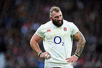 Joe Marler of England looks on during a break in play. RBS Six Nations match between England and Italy on February 26, 2017 at Twickenham Stadium in London, England. Photo by: Patrick Khachfe / Onside Images