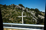 Orthodox cross on the highway near Himara Albania, in a predominately Greek area.