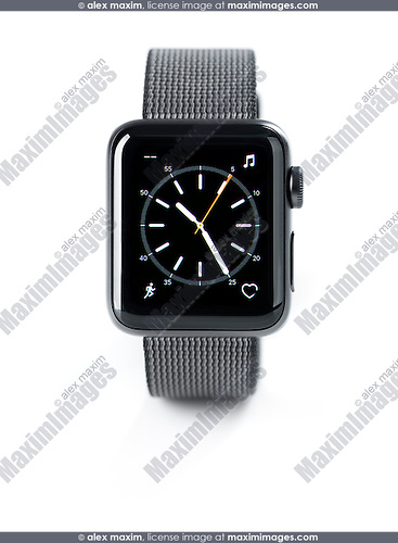 Apple Watch smartwatch with analog clock dial on display front view isolated on white background