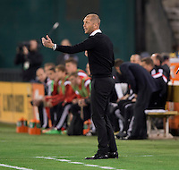 Columbus Crew head coach Gregg Berhalter yells to his team during a MLS game at RFK Stadium in Washington, DC.  D.C. United lost to the Columbus Crew, 3-0.