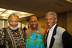 """Andre De Shields """"Marshall Lincoln Kramer III"""" - Another World (C) poses with Nana Rucker & Count Stovall (AMC, ATWT, Doctors) and actor Bill Cobbs at The National Black Theatre Festival with a week of plays, workshops and much more with an opening night gala of dinner, awards presentation followed by Black Stars of the Great White Way followed by a celebrity reception. It is an International Celebration and Reunion of Spirit. (Photo by Sue Coflin/Max Photos)"""