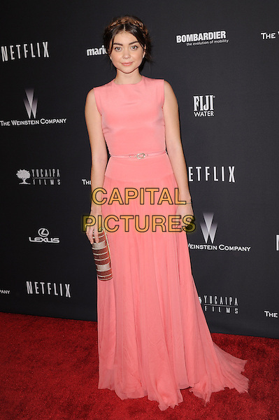 Sarah Hyland attends THE WEINSTEIN COMPANY &amp; NETFLIX 2014 GOLDEN GLOBES AFTER-PARTY held at The Beverly Hilton Hotel in Beverly Hills, California on January 12,2014                                                                               <br /> CAP/DVS<br /> &copy;DVS/Capital Pictures
