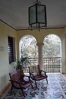 Sitting area outside a room at  the Hotel Hacienda Uxmal near the Mayan ruins of Uxmal, Yucatan, Mexico.