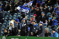 A general view of Bath Rugby supporters prior to the match. European Rugby Champions Cup match, between Leinster Rugby and Bath Rugby on January 16, 2016 at the RDS Arena in Dublin, Republic of Ireland. Photo by: Patrick Khachfe / Onside Images