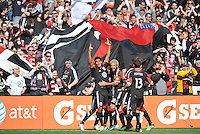 Rafael Teixeira (9) of D.C. United celebrates his score in the 22th of the game. The Columbus Crew defeated D.C. United 2-1 ,at RFK Stadium, Saturday March 23,2013.